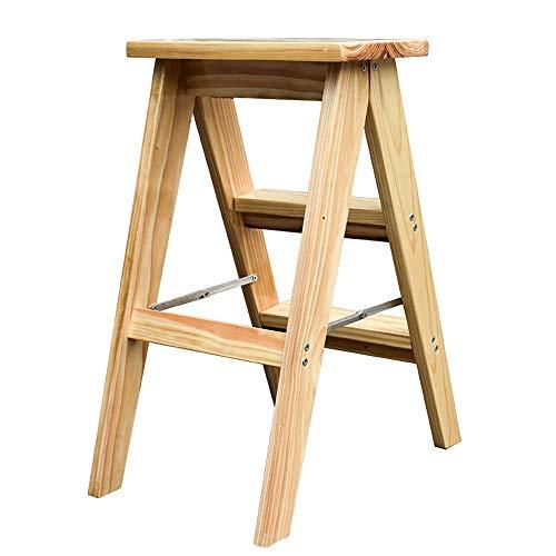 Trapladder inklapbare mini-houten ladder voor multifunctioneel gebruik in huis, tuin en kantoor biedt extra hoogte om een hoge ruimte te bereiken, 100 kg (220 lbs) ++ Small