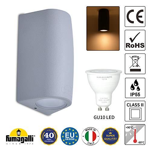 LED Wandlampe IP55 Innen Außen Wandleuchte Nach unten Lampe Badezimmer Strahler Grau inkl. 3,5W GU10 Leuchtmittel Warmweiß 230V