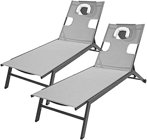 Garden Sun Lounger Set of 2, Outdoor Reclining Chair with Head Pillow Reading Hole and 2 Wheels, Adjustable Leisure Chaise bed for Home Garden Poolside Patio Yard Deck (Gray)