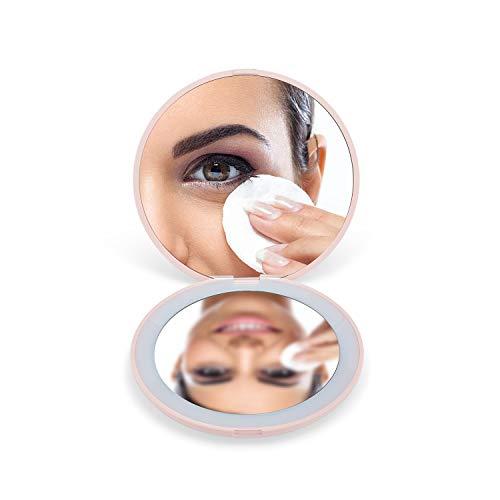 OMIRO Espejo de bolsillo iluminado con LED, 3 ½'...