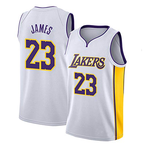 WANLN Maillot De Baloncesto Lebron James # 23 para Hombre, NBA Lakers, Maillot Swingman, Tela Bordada, Transpirable Y De Secado Rápido,Blanco,S
