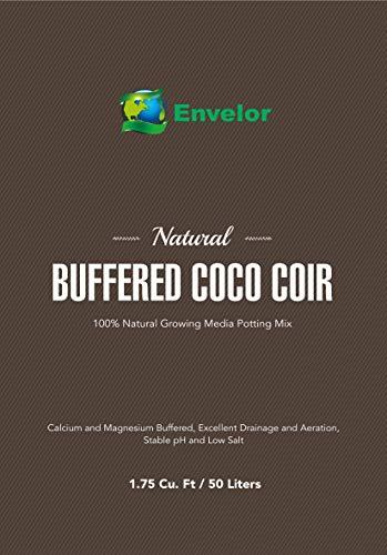 Envelor Organic Coco Coir Fiber Growing Media - 1 Brick = 2.8 Cubic Feet of Potting Mix - Urban Vegetable Garden, Grow Seedlings, House Plants - pH-Balanced (1.75 Cu. Ft. Loose Coco)