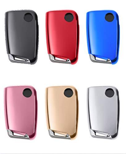 CAIDAI&YL Soft TPU Car Key Case Auto Key Protection Cover para VW Golf-7 Tiguan-L Polo Car Holder Shell Accesorios Coloridos para el Estilo del Coche, Negro
