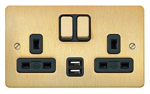 MK 13 A Double Socket Chrome Poli Noir Insert K14347 Poc B Double Pôle
