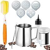 Artvene, brocca da 350 ml in acciaio inox con misurazione interna – Brocca per cappuccino – ideale per macchine espresso, montalatte e latte – 10 pezzi