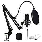 Aokeo AK-60 Streaming Podcast PC Microphone & Suspension Boom Scissor Arm Stand with Built-in XLR Cable and Mounting Clamp,for Skype Youtuber Karaoke Gaming Recording