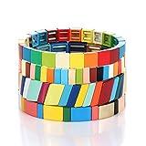 Colorful Enamel Tile Bracelet for Women Rainbow Color-Block Tile Beaded Strand Bracelet Colorful Enameled Stretch Bracelet Bohemian Tile Bangle Bracelet Set for Men (Rainbow Candy Style)