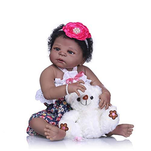 Renacer Cuerpo Completo Vinilo Silicona Negro Indio Estilo Realista Reborn Bebé Muñeca Realista Mirada Chica Juguete Niño Navidad Regalo,Black