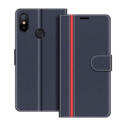 COODIO Handyhülle für Xiaomi Mi A2 Handy Hülle, Xiaomi Mi A2 Hülle Leder Handytasche für Xiaomi Mi A2 Klapphülle Tasche, Dunkel Blau/Rot