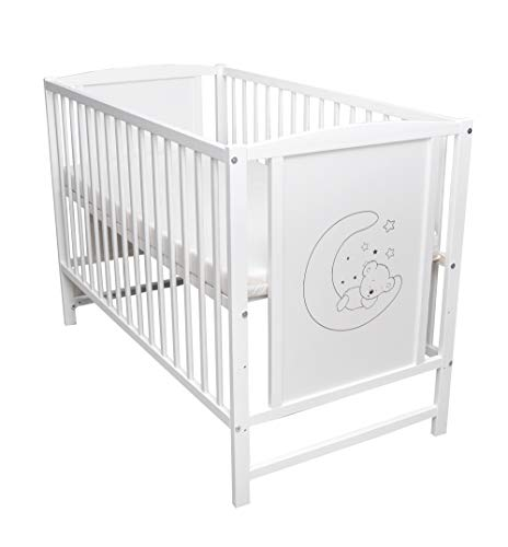 Mond Motiv Babybett Gitterbett Kinderbett 120x60 Weiß mit Matratze NEU