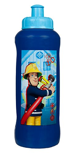 Scooli FSTU9911 - Sportflasche aus Kunststoff, leicht zu öffnen und zu schließen, BPA und Phthalat frei, Feuerwehrmann Sam, ca. 450 ml