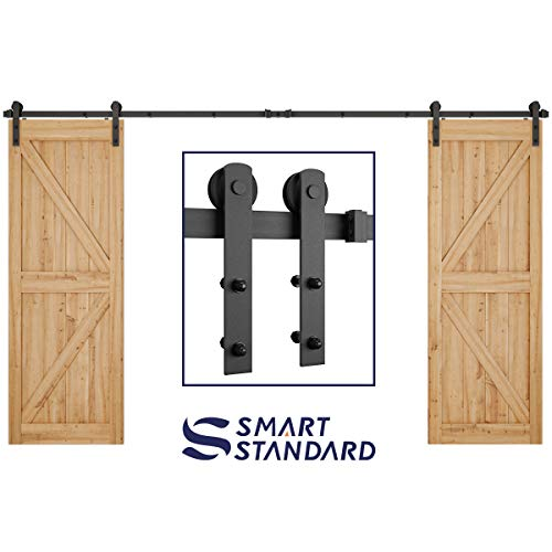12ft Heavy Duty Double Door Sliding Barn Door Hardware Kit -Smoothly and Quietly -Simple and Easy to Install -Includes Step-by-Step Installation Instruction -Fit 30'- 36' Wide Doors Panel (I Shape)