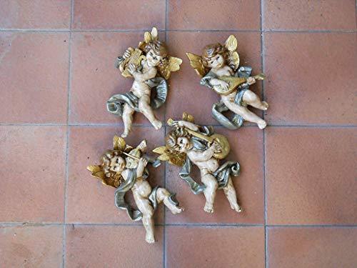 Set quattro angeli di ceramica siciliana. Decorazioni natalizie. Le ceramiche di Ketty Messina.