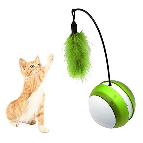 NightyNine 猫おもちゃ 猫じゃらし羽のおもちゃ 光るおもちゃ 猫じゃらし 光るボール Ledボール 乾電池給電 自動回転 ねこ おもちゃ 丈夫ストレス解消 運動不足解消 (緑)