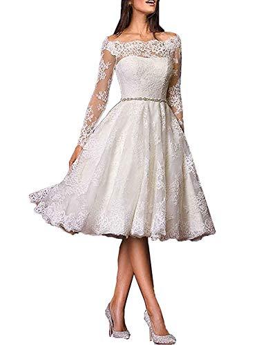 Brautkleid Hochzeitskleider Langarm Damen Knielang Spitzenkleid mit Gürtel A Linie Weiß EUR46