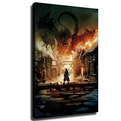 The Hobbit The Battle of Smaug Wall Art Decor Canvas Painting Poster Print Canvas Art Pictures for Room Home Decor 05 (Framed,12X18 INCH)
