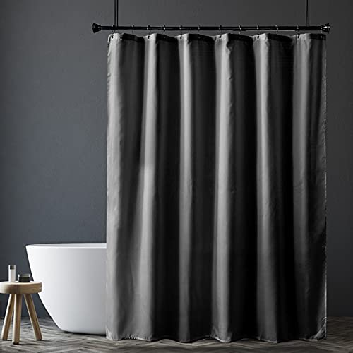 Amazer Grey Shower Curtain Liner, Dark Grey Fabric Shower Liner, 2-in-1 Bathroom Shower Curtain and Liner, 12 Grommet Holes, Water Proof, Machine Washable, Hotel Quality, 72 x 72 Inches