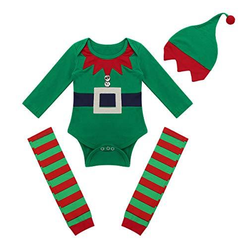 dPois 3 pcs Pelele + Calentadores + Gorro Disfraces Duende Navidad Bebé Niño Niña Mameluco Algodón Traje Infantil Disfraz Conjunto Body Manga Larga Romper (3-18 Meses)
