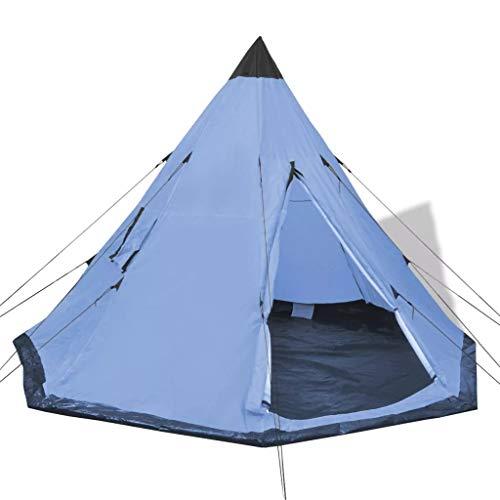 Wakects Zelt Campingzelt Tipi Stil Familienzelt für 2 bis 4 Personen Schlaffläche: 300 x 300 cm (L x B) Hellblau