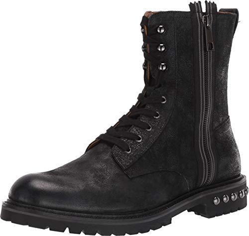 Steve Madden Men's Zuko Combat Boot, Black Leather, 12 M US