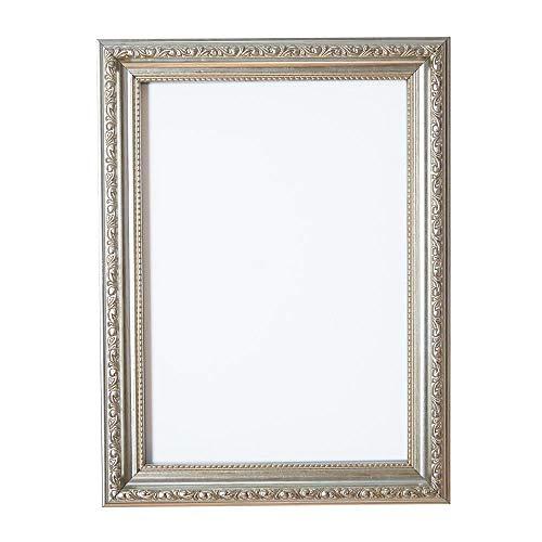 A3 - Silber - Bilderrahmen Verzierungen im Shabby Chic /Foto/Posterrahmen mit Plexiglas aus Styrol für hohe Klarheit & MDF Rückwand