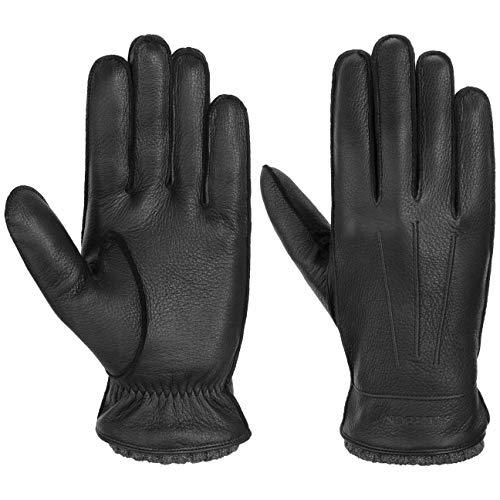 Stetson Deer Cashmere Lederhandschuhe Fingerhandschuhe Handschuhe Herrenhandschuhe Herren - mit Futter Herbst-Winter - 8 HS schwarz