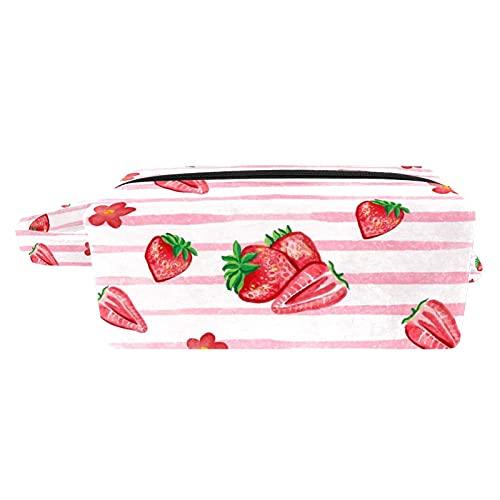 Bolsa para Cosméticos Fresas Acuarela Bolsas de Maquillaje de Viaje Portátil Neceser de Maquillajepara para Mujeres niñas 21x8x9 cm