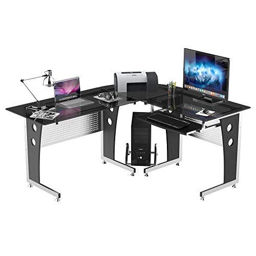 HOMCOM Mesa Esquinera PC Escritorio Ordenador Oficina Dormitorio Hogar Escuela Metal...