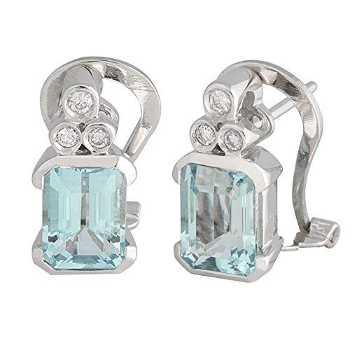 Pendientes oro blanco 18k colección Azul 14.5mm. diamantes brillantes 0.12ct aguamarina cierre omega