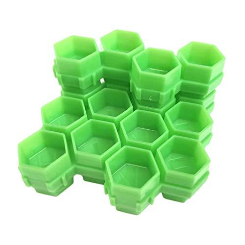 EXCEART 200 Pcs Nid D'abeille Tatouage Encre Tasses en Plastique Tatouage Couleur Tasse Peinture Tasse Pigment Tasses Maquillage Permanent Tatouage Fournitures (Vert)