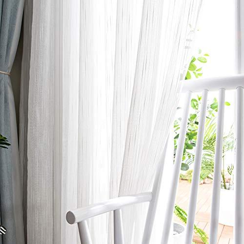HM&DX Faux Leinen Voile Vorhänge Weiß,modern Dekorative Voile Gardinen,lichtfilterung Fenster Schattierung Tüll-vorhänge Wohnzimmer Schlafzimmer ösen 400x270cm(157x106in)