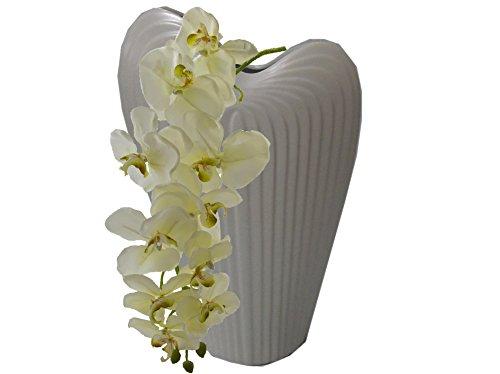 Salsacollection Große Vase Dekorative Stein graue Keramikvase Bodenvase mit Orchidee