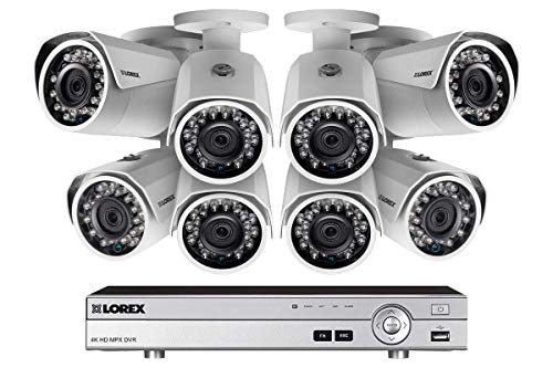 Lorex 1080p HD Indoor/Outdoor Security System, HD Weatherproof Bullet Cameras w/Long Range Night Vision (8 Pack)- Includes 8 Channel 4K DVR w/ 2 TB Storage Hard Drive