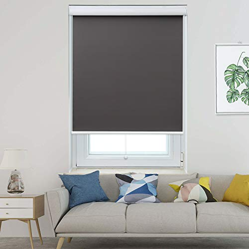 Allesin Blackout Roller Shades Window Shades and Cordless Blinds for Home & Office, Gray, 28 x 72 Inch (Upgraded Style)