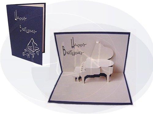 Pop Up 3d Grußkarte Geburtstagskarte, Motiv: Klavier, Farbe: blau