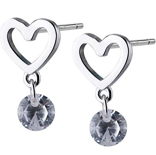 Vvff Silver Love Heart Drop Earrings For Women Round Crystal Zircon Jewelry