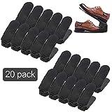 wolketon Lot de 20 Supports Réglables de Chaussure, Noir Empiler Les Chaussures, Economie d'Espace à Chaussures Support Rack Plastique
