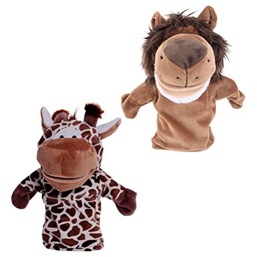TOYANDONA 2 Piezas de Animales de Peluche Marionetas de Mano León Jirafa de Peluche de Juguete de Peluche Títeres de Dedo Títeres de Mano Muñeca de Cuentos de Peluche de Juguete para Niños