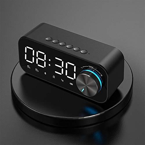 WWWL Reloj despertador LED espejo despertador con altavoz Bluetooth, pantalla digital, reloj despertador inalámbrico, subwoofer, reproductor de música, reloj de mesa, color negro
