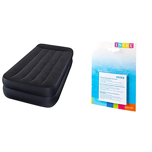 Intex 64122 - Colchón Hinchable Dura-Beam Standard Pillow Rest 99 x 191 x 42 cm + 59631NP - Set de reparación Parches autoadhesivos, 7 x 7 cm