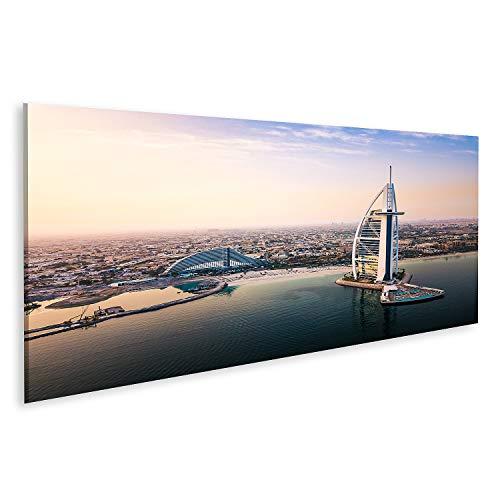 islandburner Cuadro en Lienzo Dubai Waterfront Skyline y Burj Al Arab Hotel Amanecer Cuadros Modernos Decoracion Impresión Salon
