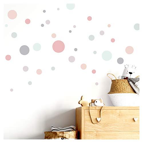 Little Deco - Adhesivos decorativos para pared, 86 puntos, para habitación infantil; color rosa, gris y menta; diseño de lunares autoadhesivos DL385