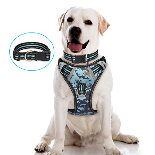 WINSEE Dog Harness No Pull, Pet Harnesses with Dog Collar, Camo, Adjustable Reflective Oxford Outdoor Vest, Front/Back Leash Clips for Medium, Large, Extra Large Dogs, Easy Control Handle for Walking