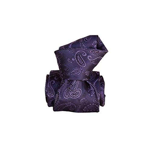 Segni et Disegni. Cravate artisanale. Alexandrie, Soie. Violet, Paisley. Fabriqué en Italie.