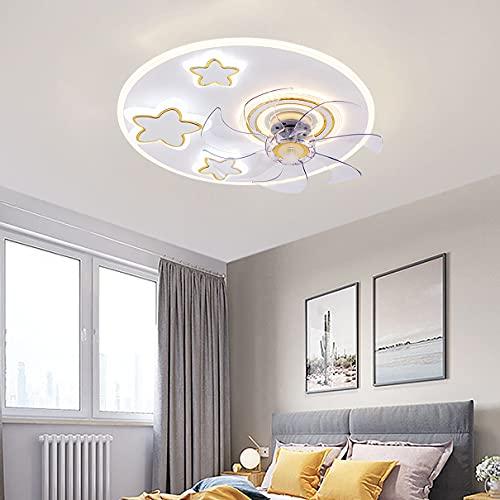 Φ50cm Ventilador Techo Con Luz 3 Velocidades Dormitorio LED Regulable Lamparas Ventilador De Techo Y Mando Moderno Ultradelgado Silencioso Ventilador Techo Con Luz Y Temporizador,B