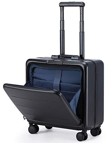 Roam.Cove フロントオープン スーツケース 軽量 機内持ち込み キャリーケース キャリーバッグ 静音 ビジネス TSAロック 日乃本キャスター 出張 高品質モデル シンプル おしゃれ (ブラック, SS(横型))