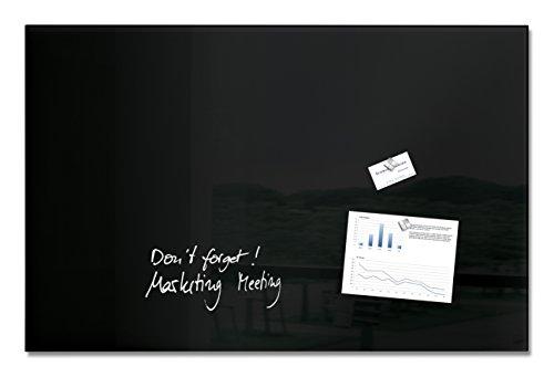 SIGEL GL140 Premium Glas-Whiteboard 100x65 cm schwarz / Glas Magnettafel / Sicherheitsglas / TÜV geprüft / Magnetboard Artverum - weitere Farben/Größen