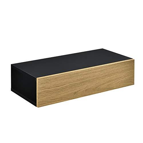 [en.casa] Estante de Pared con Compartimento 50 x 24 x 12 cm Mesita de Noche de Pared con cajón para Almacenar Negro y Apariencia de Madera