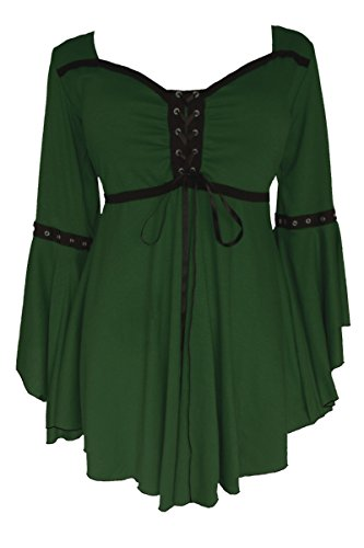 Dare to Wear Ophelia Corset Top: Victorian Gothic Medieval Women's Plus Size Peasant Blouse for Everyday Halloween Cosplay Festivals, Envy 2X