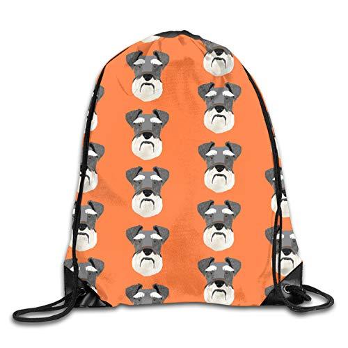 Schnauzer Head Dog Head Dogs Pets Pet – Mochila con cordón naranja bolsa de cuerda deporte gimnasio mochila para hombres y mujeres
